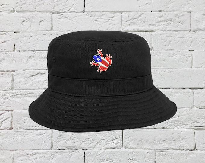 Coqui Hat, Puerto Rico Hats, Fisherman Hats, Caribbean Hats, Unisex Bucket Hats, WEPA Caps, Island Time Bucket Caps