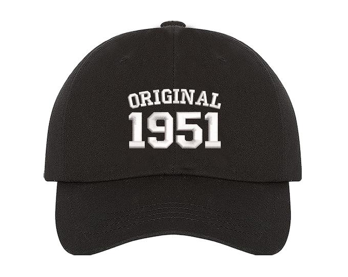 Original 1951 Birthday Baseball Hat, 70th Birthday Dad Hat, Embroidered Baseball Hat, 2021 Birthday Baseball Hat, Unisex Baseball Cap