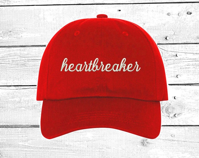 HEARTBREAKER Dad Hat, Baseball Hat Low Profile Embroidered Baseball Caps, Dad Hats, Love Heartbreak Valentines Gift for him Unisex Caps
