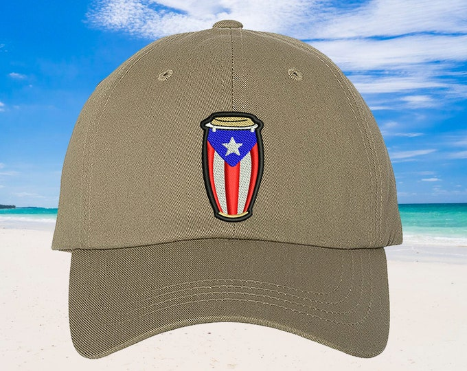 Conga Baseball Hat Puertorican Festival Hats, Low Profile Embroidered Baseball Cap, Puerto Rico Dad Hats, Boricua Hats Puerto Rico Flag Hats