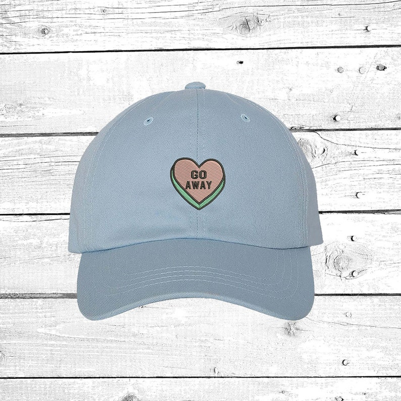 ae04c86ff Go Away Hats Candy Heart Baseball Hat, Valentines Gift, Funny gift, Heart  Love Go Away Patch Funny Patch Cap