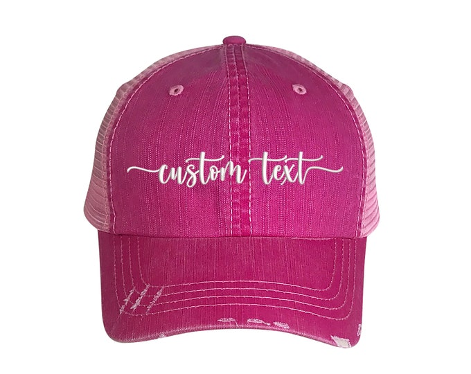 Custom Text Trucker Hat, Custom Embroidered Trucker Hat, Your Text Trucker Cap Customized Trucker Caps Custom Gift for her, Personalized Hat
