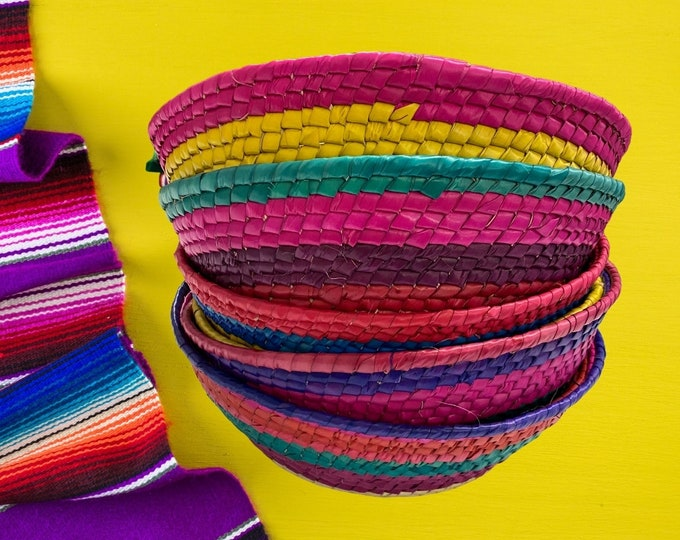 Rainbow Woven Baskets, Tortilla basket, Candy Tray Bowls, Colorful Bread Box, Rainbow Food Storage, Colorful Housewarming Gifts, Set of 4