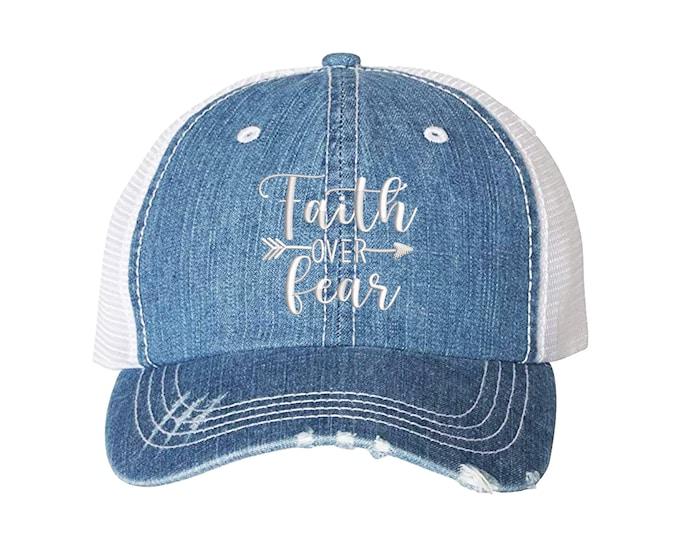 Faith over fear Trucker Hat, Faith Hope Distressed Trucker Hat, Jesus Trucker Cap, Christian Trucker Caps Gift for her Religious Trucker hat