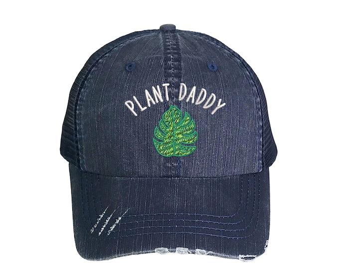 Plant Daddy Trucker Hat, Plant Dad Distressed Trucker Hat, Embroidered Trucker Caps, Unisex Mesh Back Trucker Hat, Summer Cap Hat