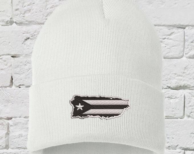 Puerto Rico Black Island Cuffed Beanie, Puerto Rican Anarchy Hats, Embroidered Beanie Puerto Rico Protest Dad Hats, Boricua Hats