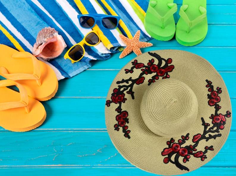 a8e51270b3948 RED ROSES Beach Sun Hat Summer Floppy Straw Hat Embroidered
