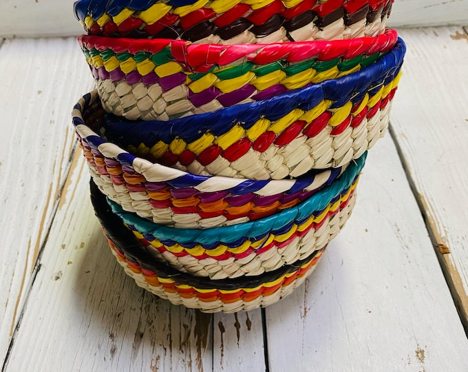 Small Rainbow Woven Baskets, Tortilla Basket, Candy Tray Bowls, Colorful Basket, Rainbow Food Storage, Colorful Housewarming Gifts