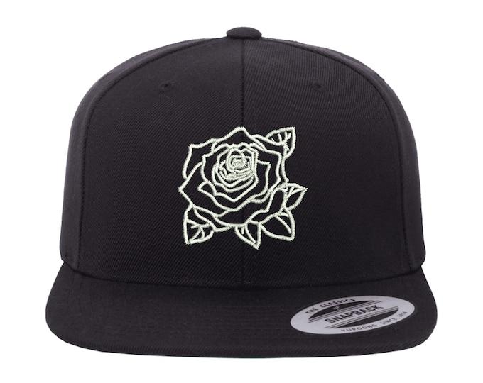 ROSE OUTLINE Snapback, Flower Lover, For Flower Lovers, Flower Enthusiasts, Flower Hat, Botanical, Plant, Flower Accessories