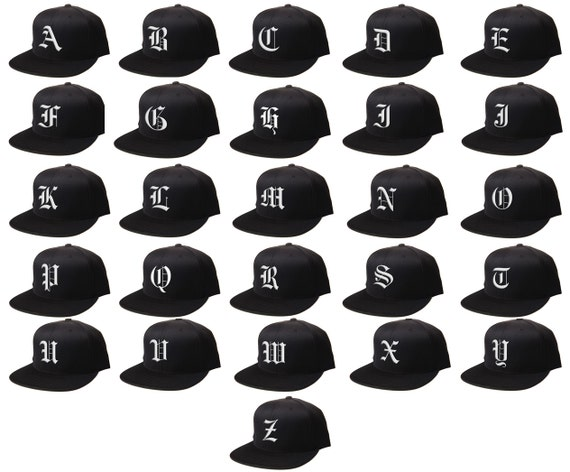 034bac36e Snapback Custom Letters, 3D Flat Bill Snapback, Personalized Black Cap,  Customize Baseball Cap, Embroidered Hat OLD ENGLISH Letters