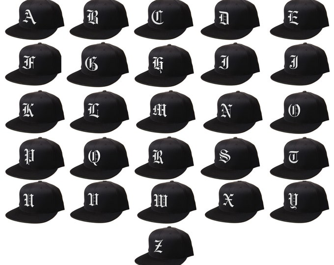 Snapback Custom Letters, 3D Flat Bill Snapback, Personalized Black Cap, Customize Baseball Cap, Embroidered Hat OLD ENGLISH Letters