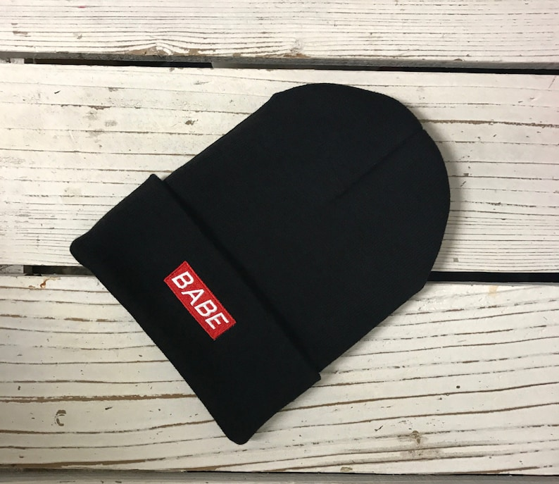 679670a10 BABE Patch Embroidered Long Beanie Cuffed Cap Baby Winter Hat Beanies -  Multiple Colors