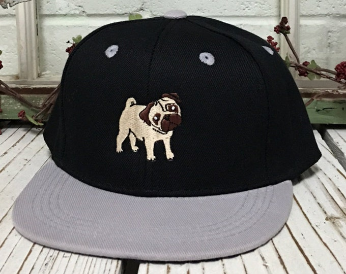 PUG Embroidered KIDS Flat Bill Snapback Child Hat Children's Cap 2yrs to 8 yrs old - Many Colors