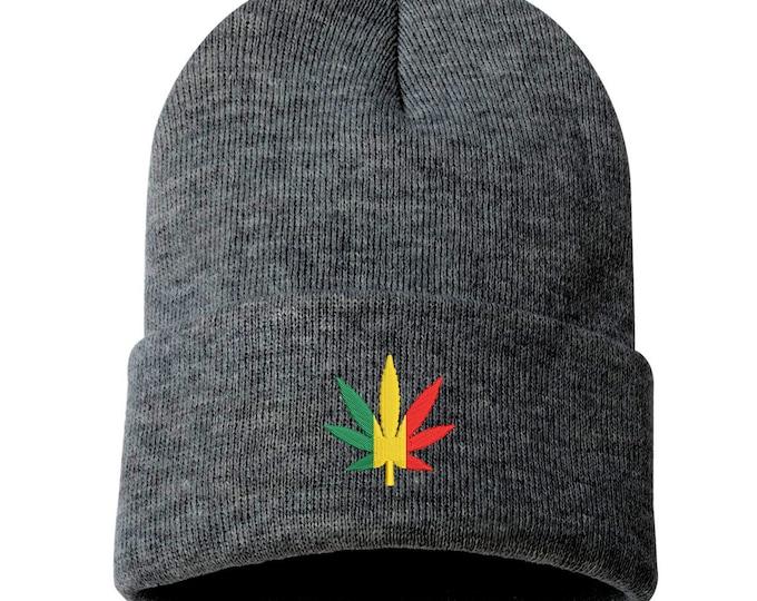Rasta Bud Unisex Cuffed Beanie, Embroidered Beanie, Rasta weed leaf Beanie, Cannabis Hat, 420 Beanies, Weed Beanie, Marijuana Beanie