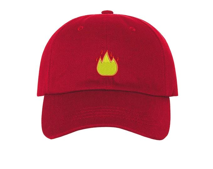 KIDS Fire Emoji Hat, Lit Fire Emoji Baseball kids Hat, Child Cap with Fire Emoji Kids Baseball Toddler Cap - Many Colors Available