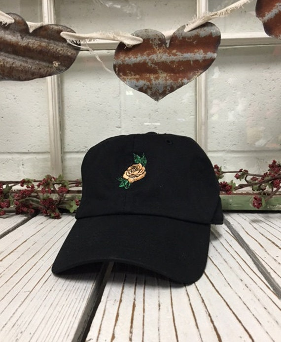 PEACH ORANGE ROSE Baseball Hat Curved Bill Low Profile Embroidered Baseball Caps Dad Hats Black