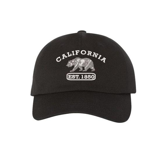 CUGLOG California Republic Floral 5 Panel Racer Caps Strapback Hat Cap Cali Bear