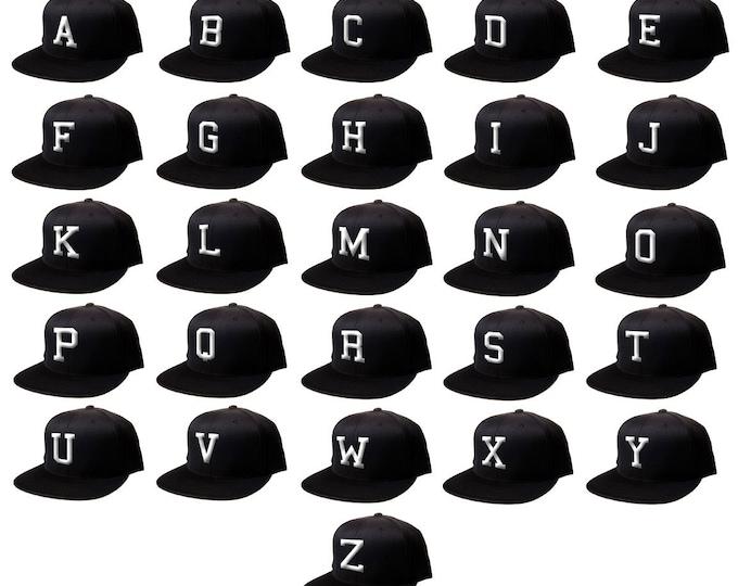 Snapback 3D Flat Bill Snapback Black Cap Hip Hop, Your BLOCK Initials Here, Custom Hat, Personalized Hat, Baseball Cap Hat Letters Alphabet