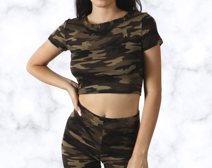 Camo Crop Top and Biker Short Set , Two-Piece Camouflage Set, Womens Crop Top and Shorts Set, Biker Shorts , Loungewear 2-Piece Set