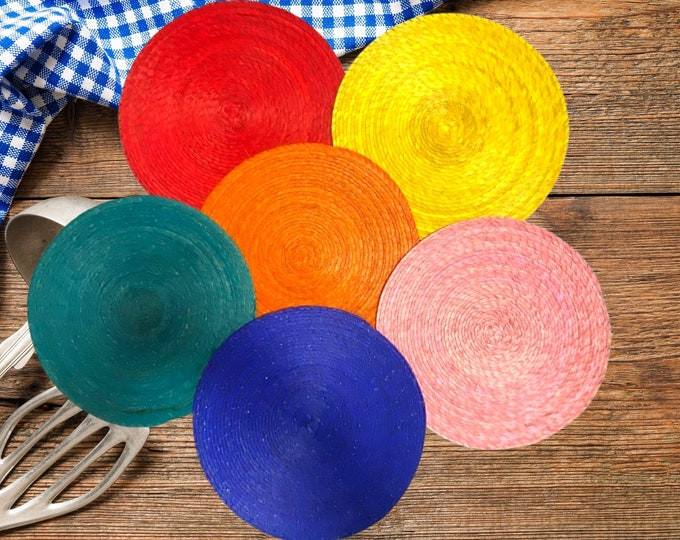 Placemats, Dining Table Round placemats, Mexican Rainbow placemats, Handmade Table Placemats, Colorful Round Placemat Set of 4