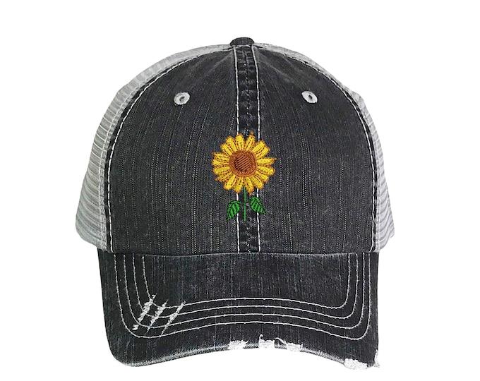 Sunflower Distressed Trucker Cap, Sunflower Distressed Trucker Hat, Floral Trucker Cap, Flower Trucker Caps, Ponytail hats