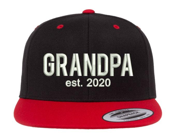 GRANDPA EST 2020 Hat, Vintage Flat Bill Snapback, Boomer Caps, Snapback Hat, Father's Day Cap