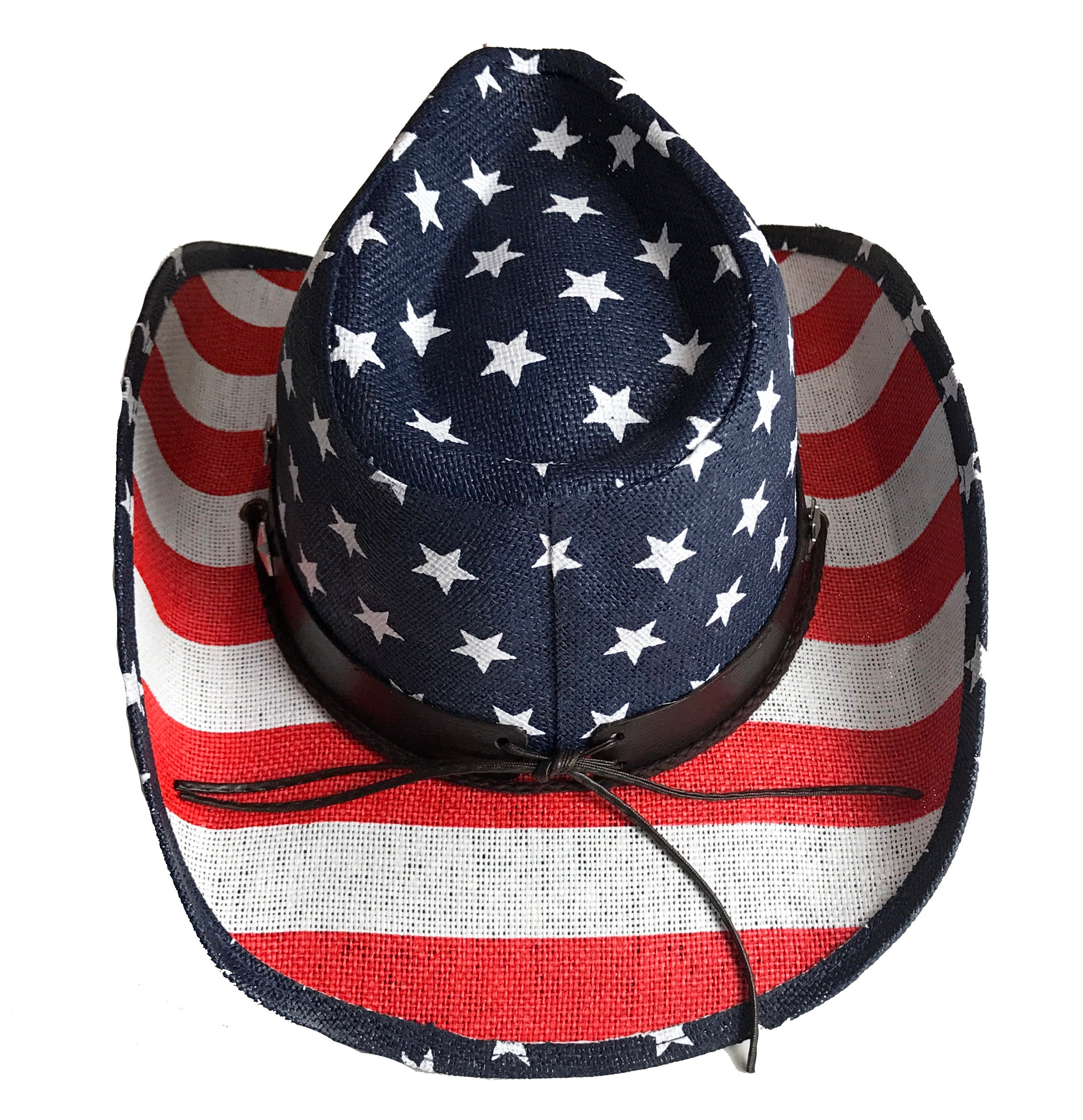 1896405d64e7a Red White and Blue Labor Day Hat Western USA Flag Hat