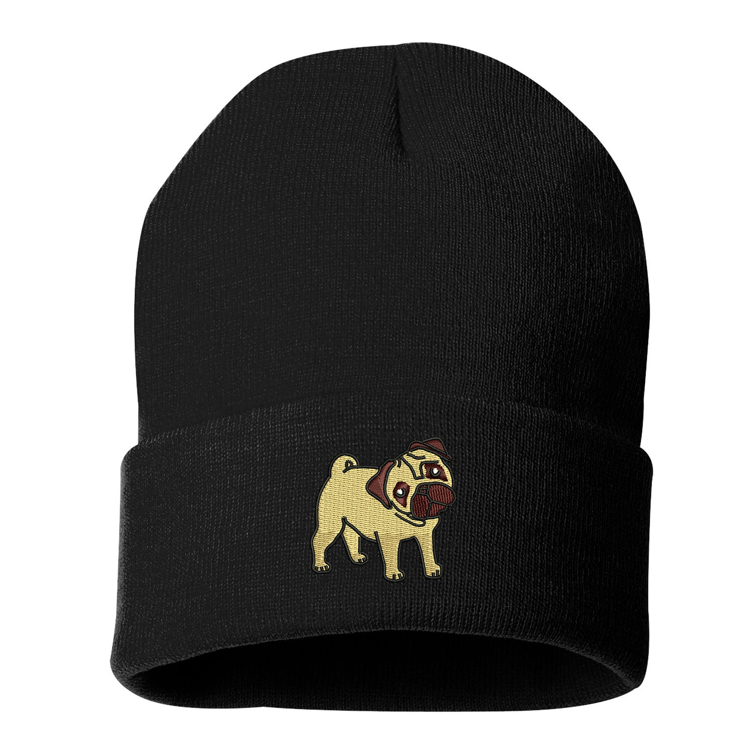 83e21c9de0c0c PUG Beanie Hat Embroidered Beanie Cuffed Cap Dog Mom Dog Dad Slouchy Beanie  Messy Bun Beanie Hat Pug Dog Owner Gifts Pet Lovers Long Beanie