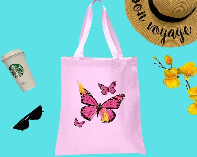 Butterflies Canvas Tote Bag, Cotton Tote Bag, Print Tote Bag, Reusable Market Bag, Coffee Bag, Cute Tote, Eco-Friendly Shopping Bag