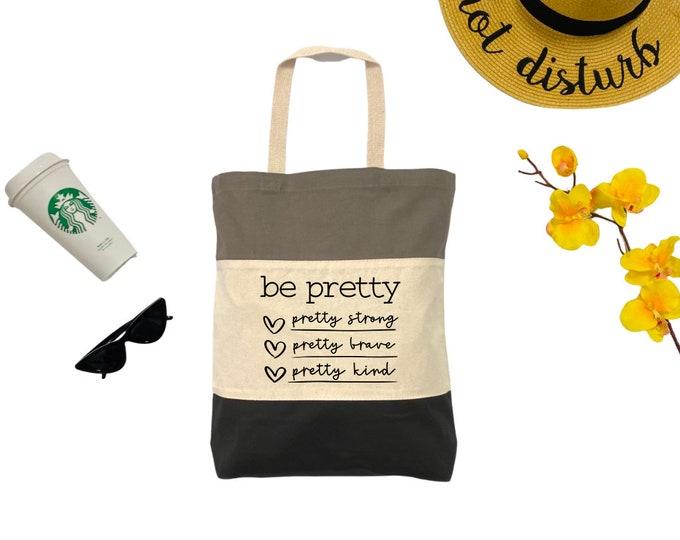 BE PRETTY Tri-Color Tote Bag, Cotton Tote Bag, Large Tote Bag, Reusable Market Bag, Beach Bag, Cute Tote Bag, Eco-Friendly Shopping Bag