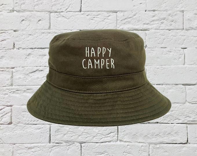 Happy Camper Bucket Hat, Sun Hats, Fisherman Bucket Hats, Van Life Hats, Unisex Bucket Hats, Traveling Caps, Bucket Caps Hat, Camping Hat