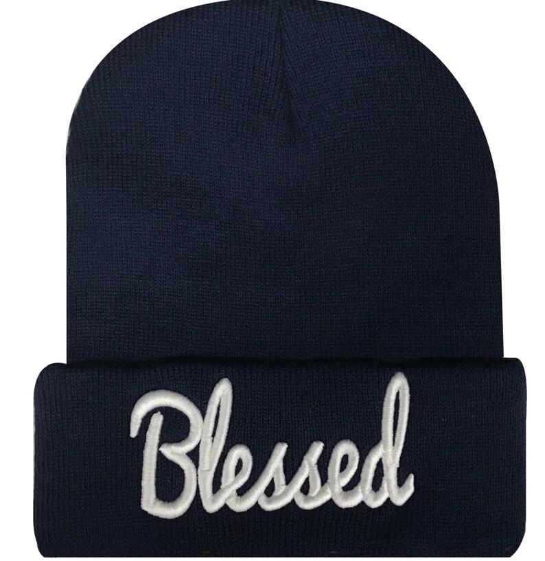 BLESSED 3D Script Beanie Hat Hip Hop Beanies Cap Navy White  51405f1317cf