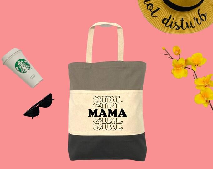 Girl Mama Tri-Color Tote Bag, Cotton Tote Bag, Large Tote Bag, Reusable Market Bag, Beach Bag, Cute Tote Bag, Eco-Friendly Shopping Bag