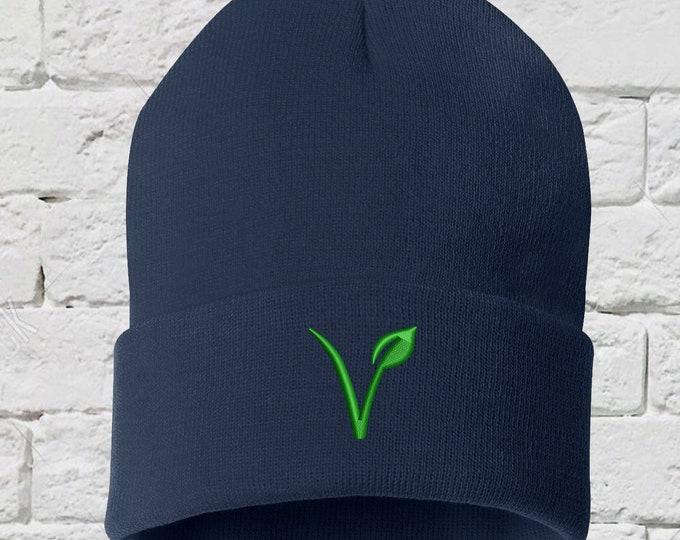 Vegan Symbol Unisex Beanie Hat, Embroidered Beanie, Vegan V beanie, Vegan Hat, Gifts for Her, Gift for Him, Gift for Vegans, Green Lifestyle