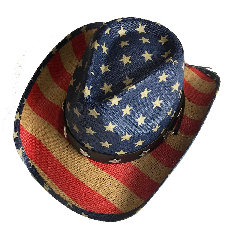 2595609e USA Cowboy Hat | Western American Flag Hat, 4th of July Straw Hat, American  Flag Cowboy hat, USA Cowboy Hat Vintage Cowboy Hat,Labor Day Hat