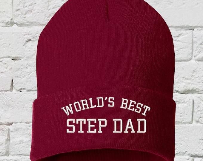 Worlds Best Step Dad Beanie Hat, Embroidered Beanie, Cuffed Beanie, Gifts for Him, Dad Beanie, Step father Gifts, Fathers Day, Fathers Day