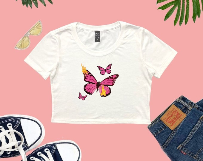 Butterflies Cropped T-shirt, Love Birds Crop Top, Lounge Crop Top, gifts for her, Photo Shoot Sexy Crop Top, Women's Tops