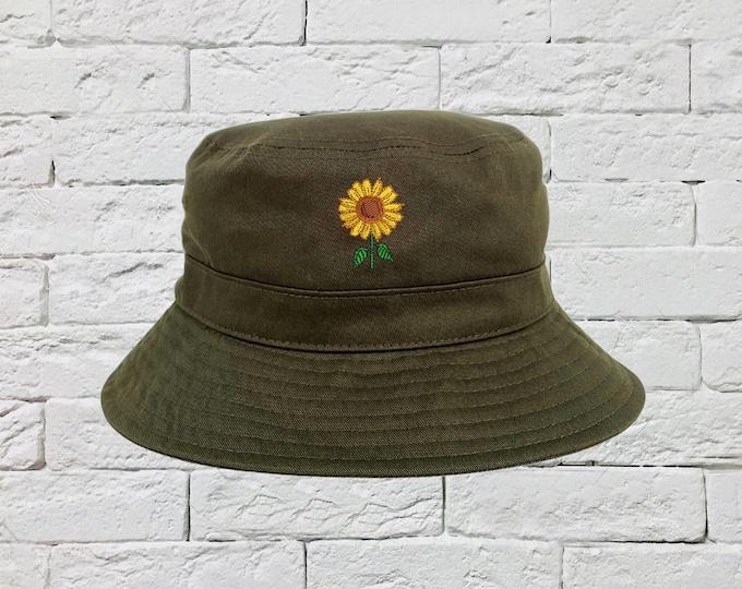 Sunflower Bucket Hat, Flower Sun Hat, Fisherman Bucket Hat, Embroidered Hat, Unisex Introvert Bucket Hat, Summer Bucket Cap, Unisex Hat