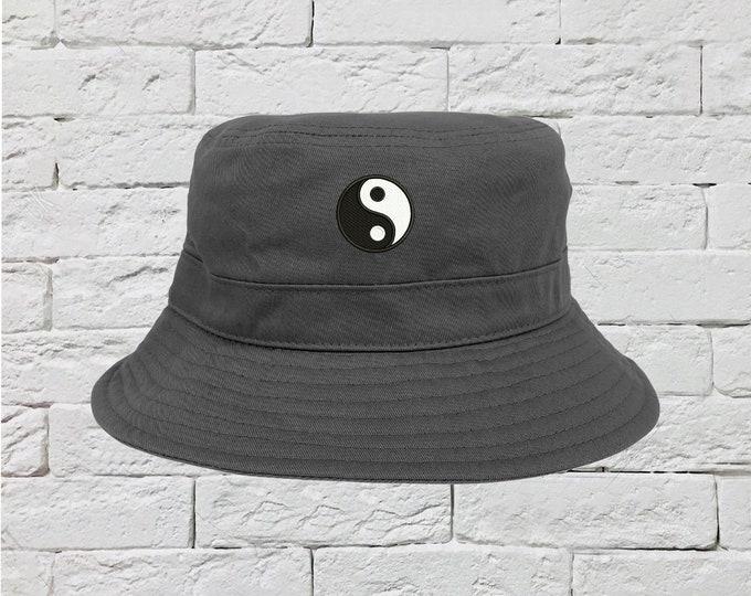 Yin Yang Bucket Hat, Unisex Sun Hat, Fisherman Bucket Hat, Embroidered Hat, Unisex Introvert Bucket Hat, Summer Bucket Cap, Dualism Bucket