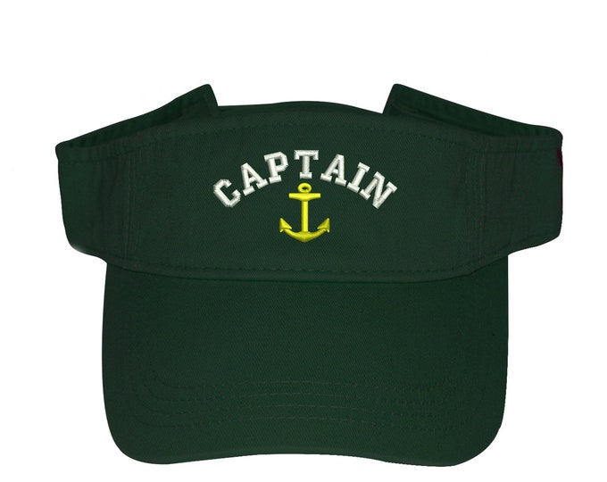 CAPTAIN Visor, Anchor, Labor Day Sun Visors, Flag Visor Hat, Nautical, Memorial Day Visor Hat, Sailor hat, Sun Hat, Beach Hat