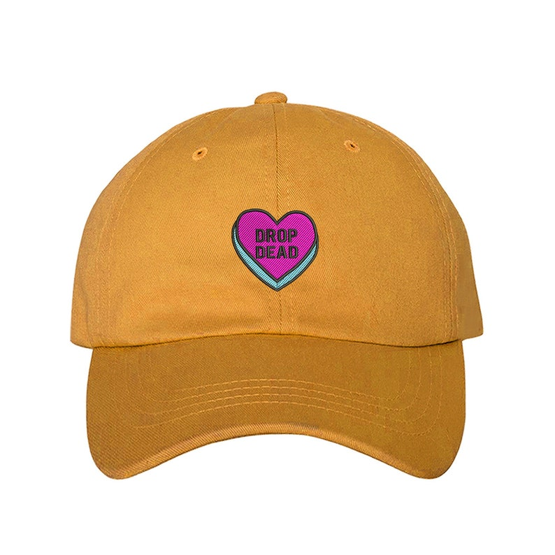 d45210fdb Drop Dead Hats Candy Heart Baseball Hat, Valentines Gift, Funny gift, Drop  Dead Patch Funny Patch Cap