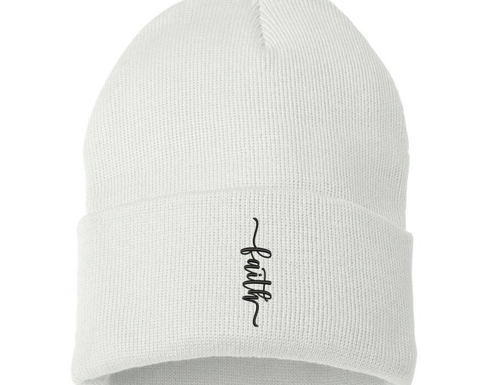 Faith Unisex Cuffed Beanie Hat, Embroidered Beanie Cap, Cuffed Beanie, Faith Cross Beanie, Faith Beanie, Religion Beanie, Inspiration Beanie