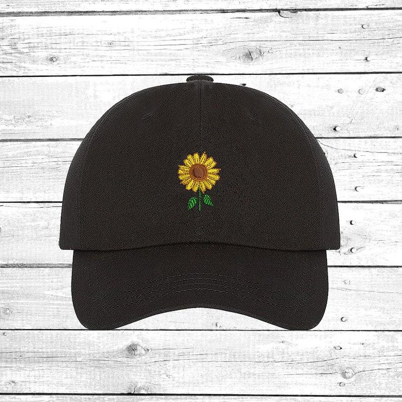 SUNFLOWER Hats Embroidered Cap Flower Baseball Cap  1bd47195d963