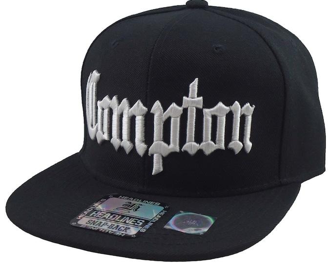 COMPTON 3D Flatbill Hat | City of Compton | Snapback Hats | NWA | Snapback Caps | West Coast Cap | Compton | Flat Snapback | Tumblr Hat