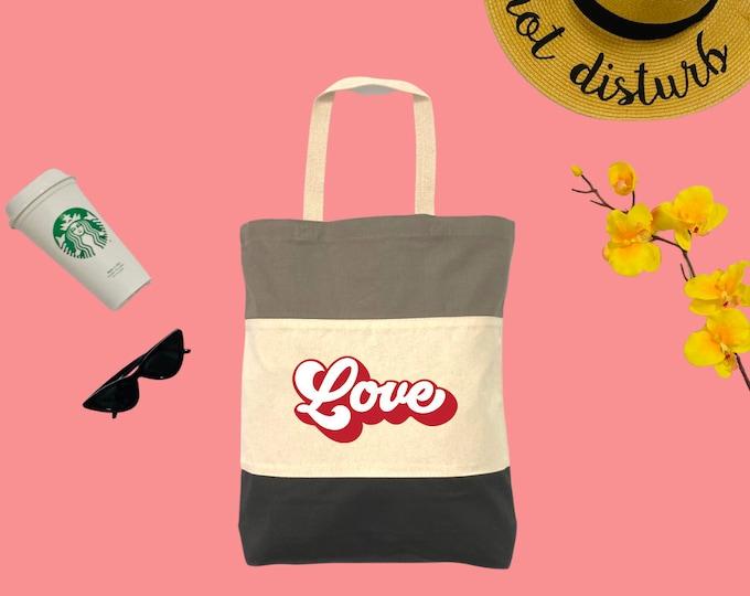 Love Red Tri-Color Tote Bag, Cotton Tote Bag, Large Tote Bag, Reusable Market Bag, Beach Bag, Cute Tote Bag, Eco-Friendly Shopping Bag