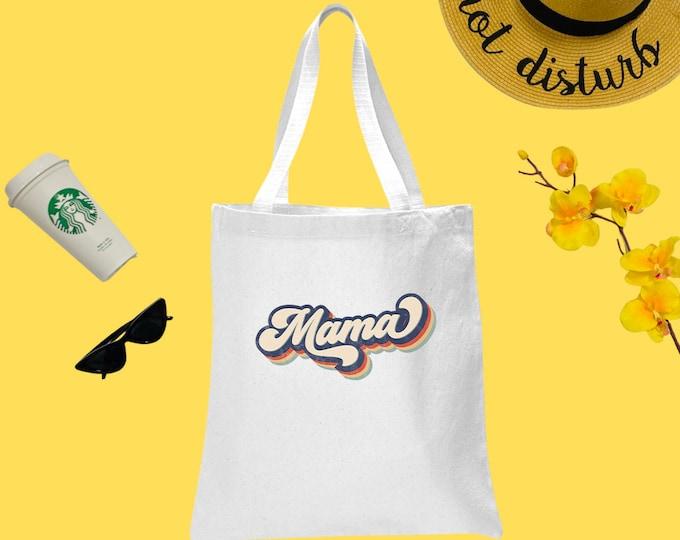 Mama Retro Canvas Tote Bag, Cotton Tote Bag, Groovy Print Tote Bag, Reusable Market Bag, Cafe Bag, Cute Tote, Eco Friendly Shopping Bag