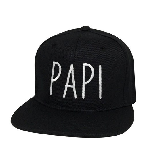 74017827264 PAPI Embroidered Flat Bill Snapback Hat Cap Black Black Bill