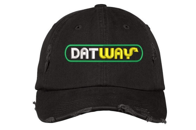 f6f06279a29a0 DAT WAY Distressed Dad Hat Migos Bad   Boujee Rain