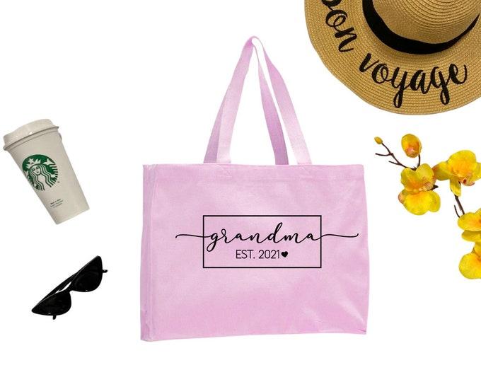 Grandma Est 2021 Tote Bag, Cotton Tote Bag, Medium Tote Bag, Reusable Market Bag, Beach Bag, Cute Tote Bag, Eco-Friendly Shopping Bag