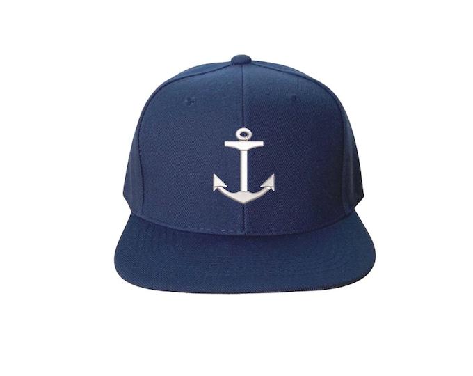Anchor Snapback Sailing Flat Bill Snapback Hat Cap Boat Lover Hat, Yacht Club Hat Nautical hat
